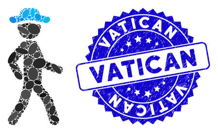 Mosaic walking gentleman icon and rubber stamp seal with Vatican caption. Mosaic vector is formed with walking gentleman pictogram and with random oval elements. Vatican stamp seal uses blue color,