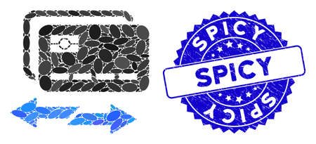 Mosaic credit card exchange icon and distressed stamp seal with Spicy caption. Mosaic vector is created with credit card exchange icon and with random oval elements. Spicy stamp seal uses blue color,