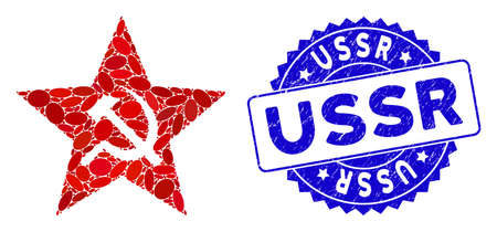 Mosaic communism star icon and distressed stamp seal with USSR caption. Mosaic vector is designed with communism star pictogram and with randomized ellipse spots. USSR seal uses blue color,