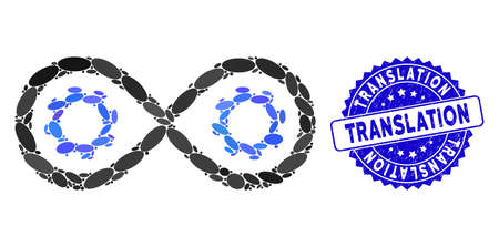 Mosaic perpetuum mobile icon and rubber stamp seal with Translation text. Mosaic vector is formed from perpetuum mobile icon and with randomized oval items. Translation stamp seal uses blue color,