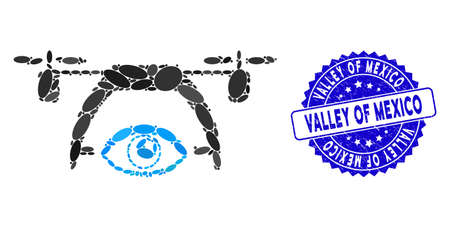 Mosaic video spy drone icon and corroded stamp seal with Valley of Mexico caption. Mosaic vector is formed with video spy drone pictogram and with scattered ellipse spots.