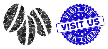 Mosaic wheat seeds icon and rubber stamp watermark with Visit Us phrase. Mosaic vector is formed with wheat seeds icon and with random oval elements. Visit Us stamp uses blue color, Иллюстрация