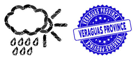 Mosaic weather icon and grunge stamp seal with Veraguas Province caption. Mosaic vector is created with weather icon and with random elliptic elements. Veraguas Province stamp uses blue color,