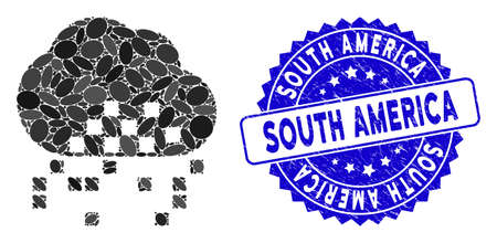 Collage cloud dissipation icon and grunge stamp seal with South America caption. Mosaic vector is composed with cloud dissipation icon and with randomized ellipse spots.