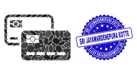 Mosaic credit cards icon and distressed stamp seal with Sri Jayawardenepura Kotte text. Mosaic vector is composed with credit cards icon and with random elliptic items.