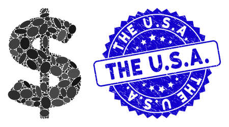 Mosaic American Dollar icon and distressed stamp seal with The U.S.A. text. Mosaic vector is created with American Dollar pictogram and with randomized elliptic spots. The U.S.A.