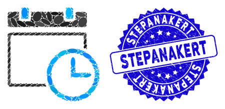 Mosaic date and time icon and rubber stamp seal with Stepanakert caption. Mosaic vector is designed with date and time pictogram and with randomized ellipse elements. Stepanakert seal uses blue color, Ilustrace