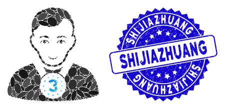 Mosaic 3rd prizer sportsman icon and grunge stamp seal with Shijiazhuang text. Mosaic vector is created with 3rd prizer sportsman icon and with random ellipse spots.