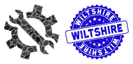 Mosaic wrench and gear tools icon and rubber stamp seal with Wiltshire phrase. Mosaic vector is formed with wrench and gear tools pictogram and with scattered elliptic items.