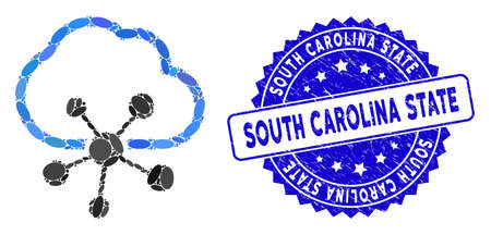 Mosaic cloud network icon and rubber stamp seal with South Carolina State caption. Mosaic vector is composed with cloud network icon and with scattered ellipse items.