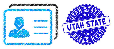 Collage user profiles icon and grunge stamp seal with Utah State text. Mosaic vector is designed with user profiles icon and with scattered oval elements. Utah State seal uses blue color, Ilustração