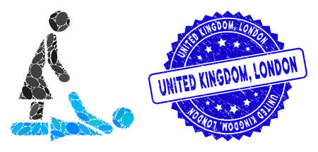 Mosaic Thai massage icon and rubber stamp seal with United Kingdom, London text. Mosaic vector is designed with Thai massage icon and with randomized oval elements. United Kingdom, Vettoriali