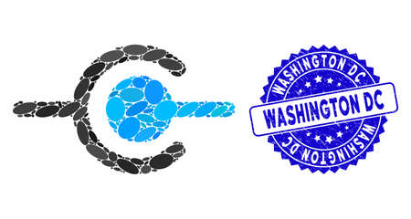 Mosaic wire connection icon and corroded stamp seal with Washington DC caption. Mosaic vector is formed with wire connection icon and with random ellipse spots.