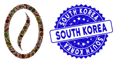 Mosaic coffee bean icon and grunge stamp watermark with South Korea phrase. Mosaic vector is created with coffee bean icon and with random oval items. South Korea stamp uses blue color,