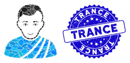 Mosaic patrician citizen icon and rubber stamp watermark with Trance caption. Mosaic vector is designed with patrician citizen icon and with randomized elliptic items.