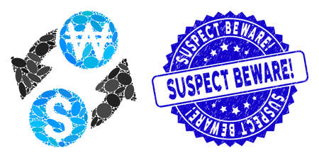 Mosaic dollar Korean Won exchange icon and corroded stamp watermark with Suspect Beware! text. Mosaic vector is designed from dollar Korean Won exchange icon and with randomized elliptic items.