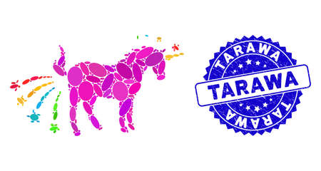 Mosaic farting unicorn icon and corroded stamp seal with Tarawa text. Mosaic vector is designed with farting unicorn pictogram and with randomized ellipse items. Tarawa stamp seal uses blue color, Illustration