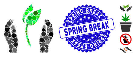 Mosaic sprout care hands icon and distressed stamp seal with Spring Break phrase. Mosaic vector is designed with sprout care hands icon and with random round items. Spring Break seal uses blue color,