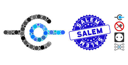 Mosaic wire connection icon and distressed stamp watermark with Salem caption. Mosaic vector is composed with wire connection icon and with scattered circle elements. Salem stamp seal uses blue color,