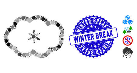 Mosaic snowing icon and corroded stamp seal with Winter Break text. Mosaic vector is designed with snowing icon and with randomized spheric items. Winter Break seal uses blue color, and dirty design.