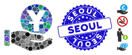 Mosaic yuan coin payment hand icon and corroded stamp seal with Seoul text. Mosaic vector is created from yuan coin payment hand icon and with randomized round spots. Seoul stamp seal uses blue color, Çizim