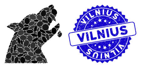 Mosaic werewolf icon and corroded stamp watermark with Vilnius phrase. Mosaic vector is composed with werewolf icon and with scattered oval items. Vilnius stamp uses blue color, and grunge surface.