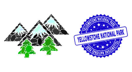 Mosaic mountains forest icon and grunge stamp seal with Yellowstone National Park caption. Mosaic vector is formed from mountains forest icon and with random oval items.