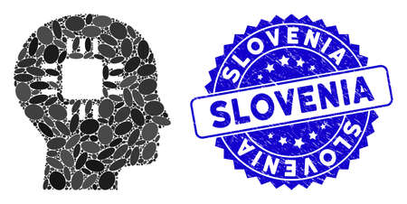 Mosaic brain processor icon and rubber stamp seal with Slovenia text. Mosaic vector is formed with brain processor icon and with randomized elliptic spots. Slovenia stamp uses blue color,