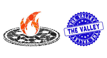 Mosaic hot pizza icon and grunge stamp seal with The Valley text. Mosaic vector is composed with hot pizza pictogram and with scattered oval spots. The Valley seal uses blue color, and grunged design.