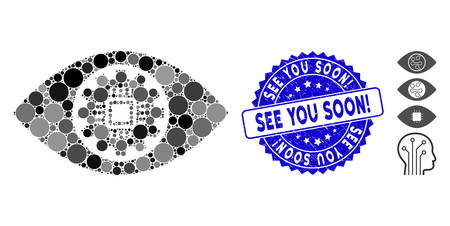 Mosaic robotics eye lens icon and distressed stamp seal with See You Soon! caption. Mosaic vector is composed with robotics eye lens pictogram and with random spheric items.