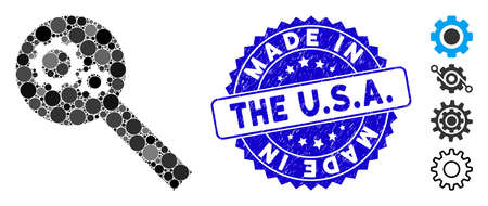 Mosaic search tools icon and distressed stamp seal with Made in the U.S.A. phrase. Mosaic vector is composed with search tools icon and with scattered circle elements. Made in the U.S.A.