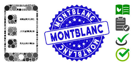 Mosaic smartphone list icon and distressed stamp watermark with Montblanc phrase. Mosaic vector is formed with smartphone list icon and with random round elements. Banco de Imagens - 138296605
