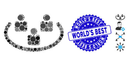 Mosaic social networks icon and grunge stamp watermark with World'S Best phrase. Mosaic vector is composed with social networks icon and with randomized spheric items.