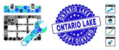 Mosaic timetable options icon and distressed stamp seal with Ontario Lake phrase. Mosaic vector is created with timetable options pictogram and with random circle spots. 일러스트