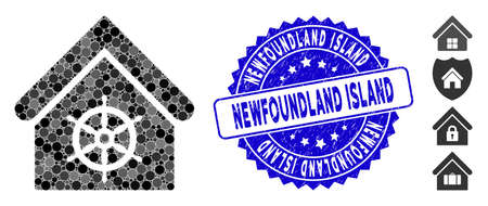 Mosaic steering wheel house icon and distressed stamp seal with Newfoundland Island phrase. Mosaic vector is created with steering wheel house icon and with random circle spots.