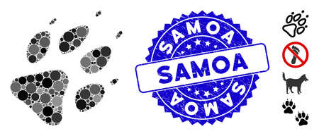 Mosaic wolf footprint icon and distressed stamp seal with Samoa caption. Mosaic vector is formed with wolf footprint icon and with random round items. Samoa stamp seal uses blue color,