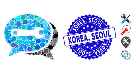 Mosaic repair chat icon and grunge stamp seal with Korea, Seoul caption. Mosaic vector is designed with repair chat pictogram and with randomized round items. Korea, Seoul seal uses blue color,