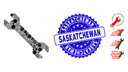 Mosaic wrench icon and rubber stamp watermark with Saskatchewan caption. Mosaic vector is formed with wrench icon and with scattered round items. Saskatchewan seal uses blue color, and rubber surface.