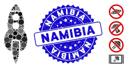 Mosaic space rocket icon and grunge stamp seal with Namibia caption. Mosaic vector is created with space rocket icon and with random spheric items. Namibia stamp seal uses blue color,