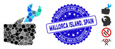 Mosaic service hand icon and rubber stamp seal with Mallorca Island, Spain phrase. Mosaic vector is created with service hand icon and with scattered circle elements. Mallorca Island, Ilustrace