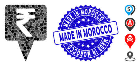 Mosaic rupee map pointer icon and rubber stamp seal with Made in Morocco caption. Mosaic vector is created from rupee map pointer icon and with scattered circle spots. Illusztráció