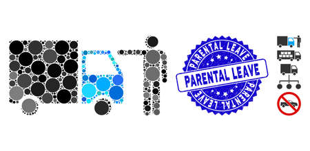 Mosaic truck customer icon and grunge stamp seal with Parental Leave phrase. Mosaic vector is created with truck customer pictogram and with scattered spheric items.