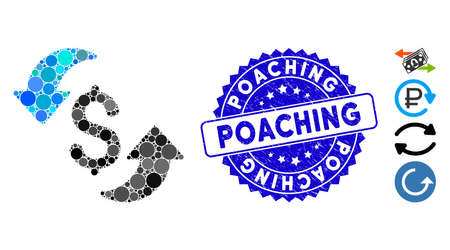 Mosaic update cost icon and rubber stamp seal with Poaching caption. Mosaic vector is created from update cost icon and with scattered spheric elements. Poaching stamp uses blue color, Ilustrace