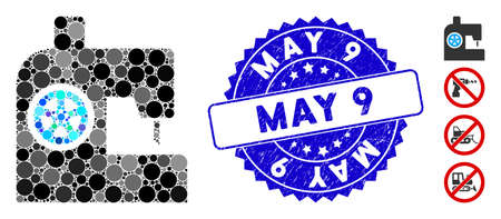 Mosaic sewing machine icon and corroded stamp seal with May 9 text. Mosaic vector is composed from sewing machine pictogram and with random spheric items. May 9 stamp seal uses blue color, Ilustrace