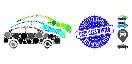 Collage traffic cars icon and corroded stamp seal with Used Cars Wanted phrase. Mosaic vector is created with traffic cars icon and with random round elements.