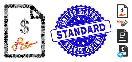 Mosaic signed invoice icon and grunge stamp seal with United States Standard caption. Mosaic vector is formed with signed invoice pictogram and with randomized round elements.