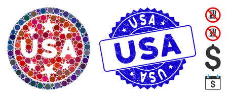 Mosaic USA stars symbol icon and rubber stamp watermark with USA text. Mosaic vector is composed with USA stars symbol icon and with randomized spheric spots. USA stamp uses blue color,