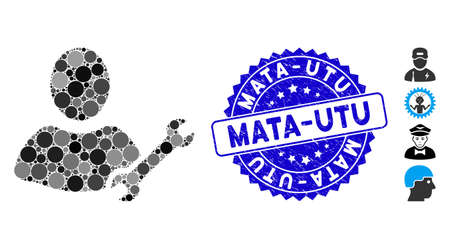 Mosaic serviceman icon and corroded stamp watermark with Mata-Utu caption. Mosaic vector is designed with serviceman icon and with scattered round elements. Mata-Utu stamp seal uses blue color,