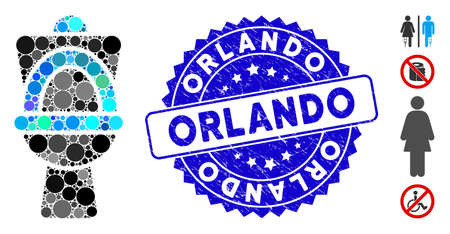 Mosaic toilet pan icon and corroded stamp watermark with Orlando caption. Mosaic vector is formed with toilet pan icon and with scattered spheric items. Orlando stamp seal uses blue color, Ilustrace