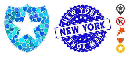 Mosaic star shield icon and rubber stamp seal with New York phrase. Mosaic vector is formed with star shield icon and with random round elements. New York seal uses blue color, and distress texture. Illustration